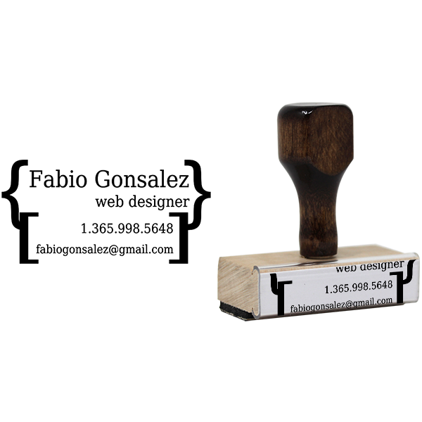 Brackets Business Card Stamp Body and Design