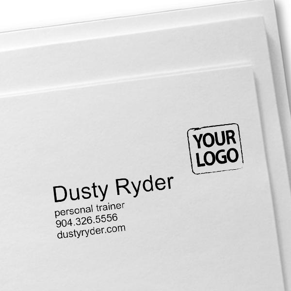 Custom Logo Business Card Stamp Imprint Example