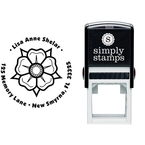 Flower Petal Custom Address Stamp Body and Design