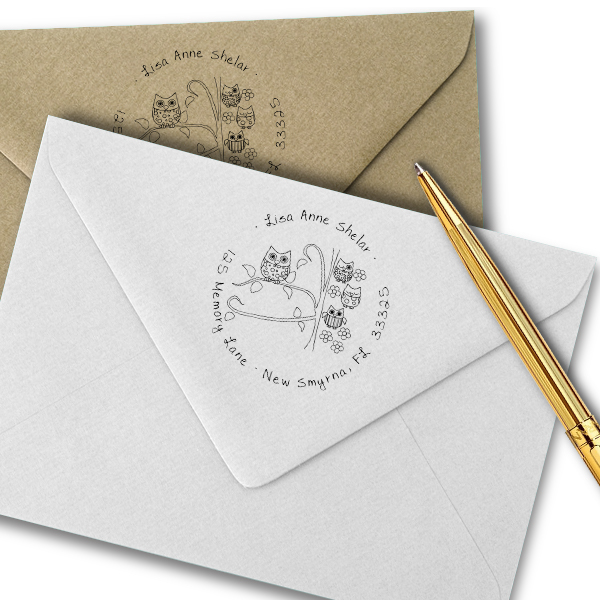 Owl Family Custom Address Stamp Imprint Example