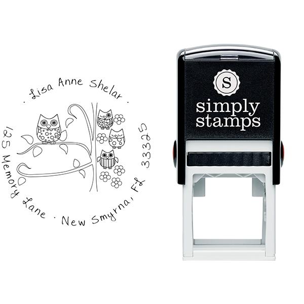 Owl Family Custom Address Stamp Body and Design