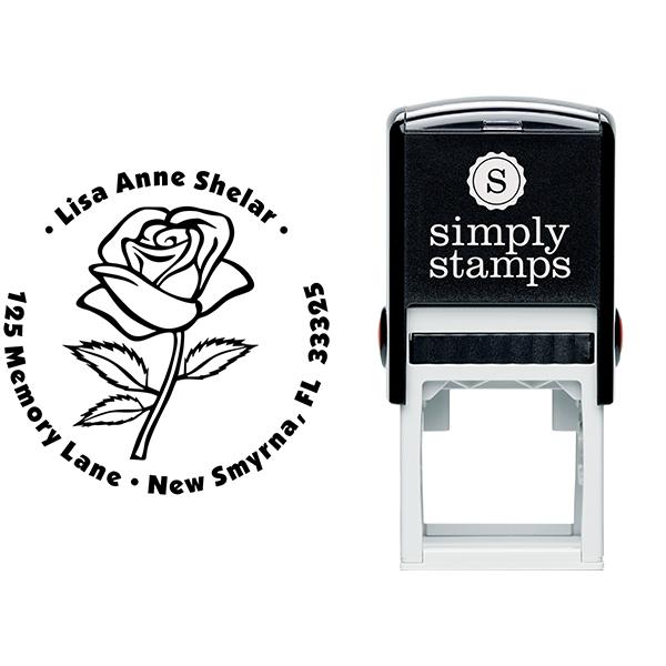 Bold Rose Custom Address Stamp Body and Design