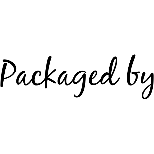 Packaged By Cursive Packaging Stamp Imprint Example