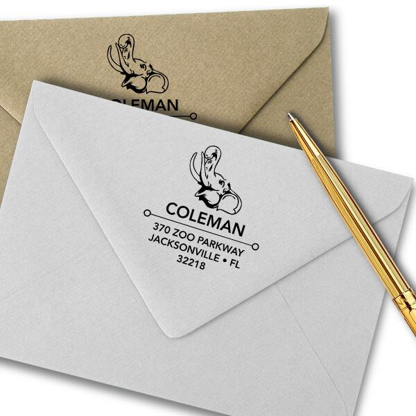 Happy Elephant Square Address Stamp Imprint Example