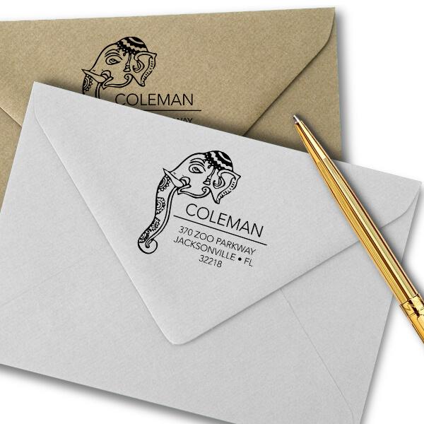Decorated Elephant Square Address Stamp Imprint Example