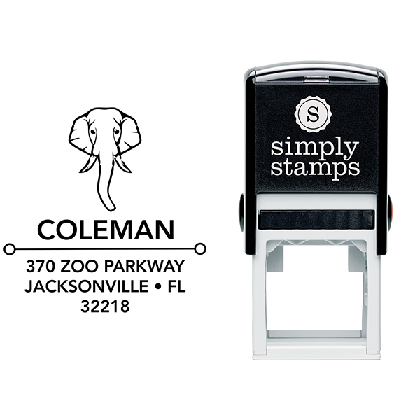 Elephant Face Square Address Stamp Body and Design