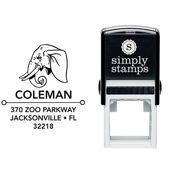 Elephant Head Square Address Stamp Body and Design