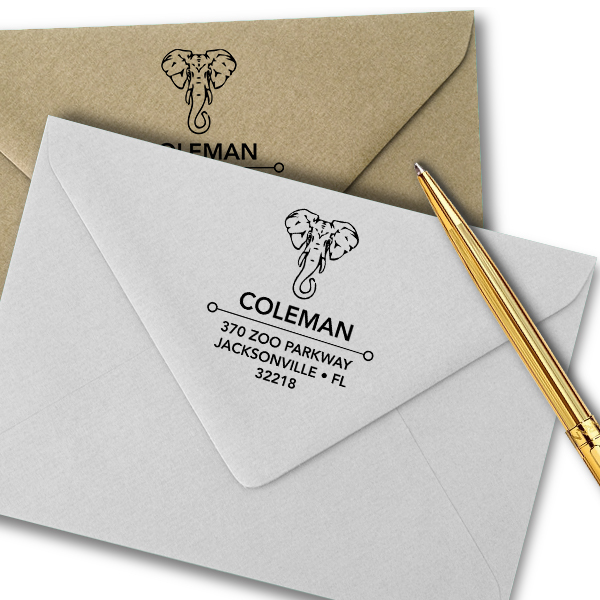 Proud Elephant Square Address Stamp Imprint Example