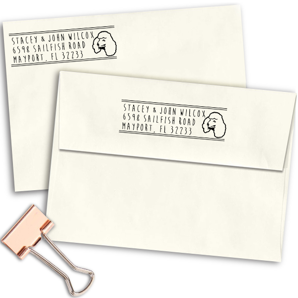 Toy Poodle Dog Address Stamp Imprint Example