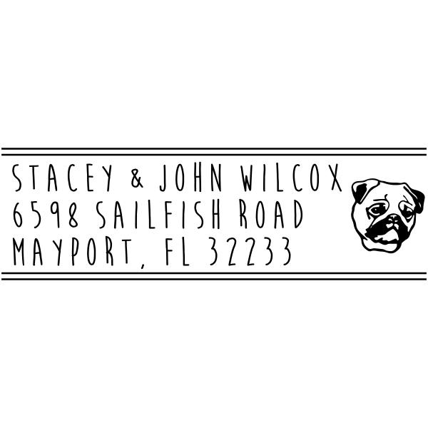 Pug Breed Head Address Rubber Stamp