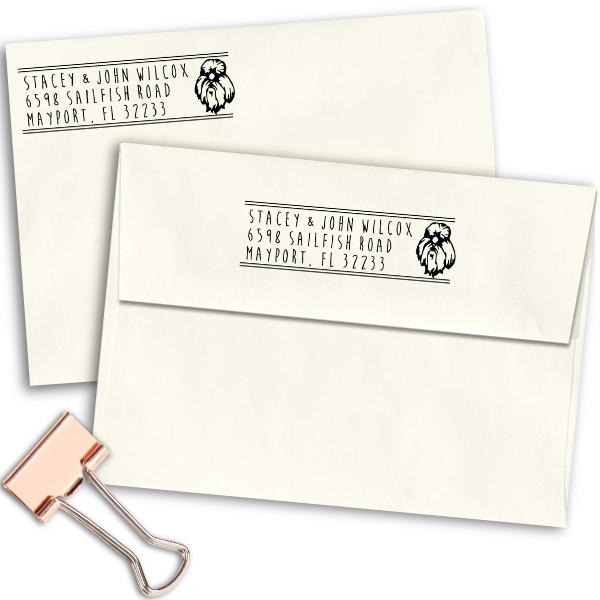 Yorkshire Dog Address Stamp Imprint Example