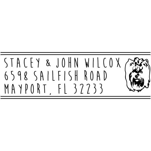 Silky Terrier Dog Address Stamper