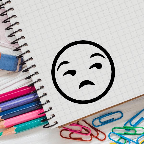 Annoyed Face Emoji Stamp Imprint Example