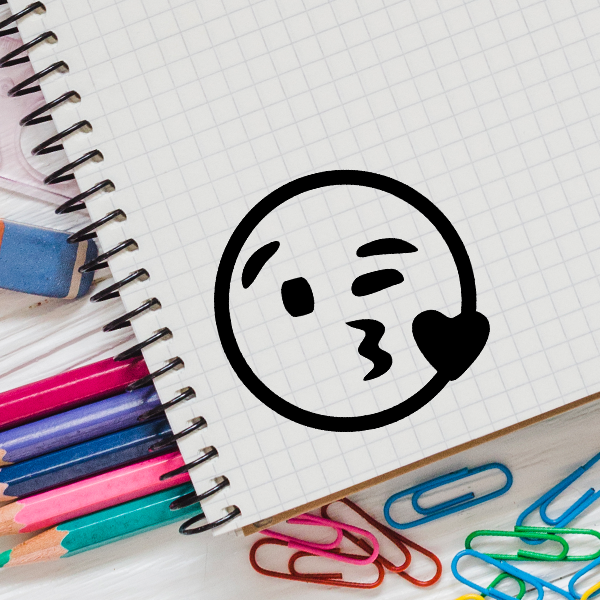 Heart Kiss Emoji Stamp Imprint Example
