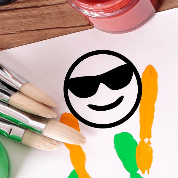 Cool Sunglasses Emoji Stamp Imprint Example