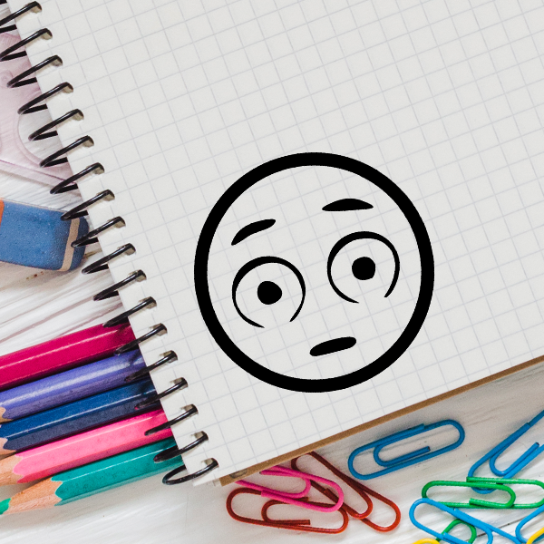 Wide Eyed Emoji Stamp Imprint Example