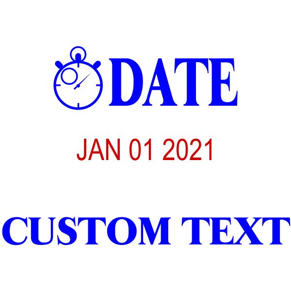 Large Clock Custom Bottom Line Dater Stamp