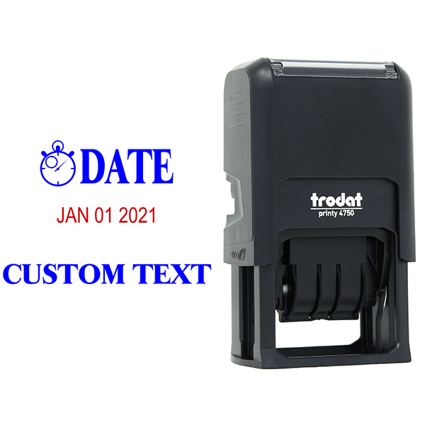 Clock Custom Bottom Line Text Dater Stamp Body and Design