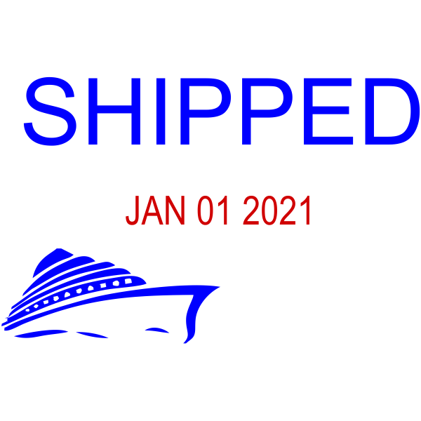 Blue and Red Shipped Ship Dater Stamp