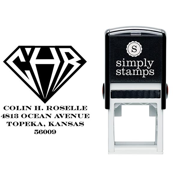 Inverted Diamond Address Monogram Stamp Body and Design