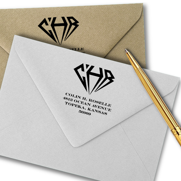 Diamond Address Monogram Stamp Imprint Example