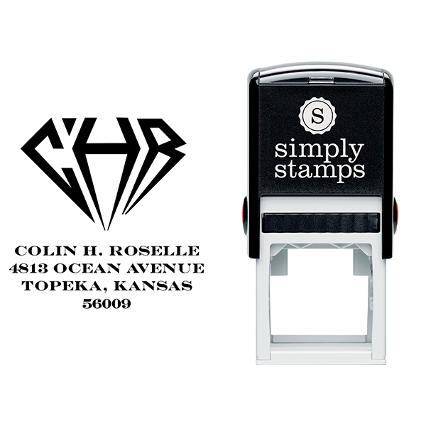 Diamond Address Monogram Stamp Body and Design
