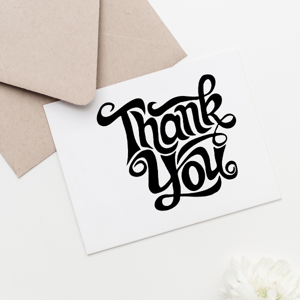 Thank You Artistic Square Stamp Imprint Example