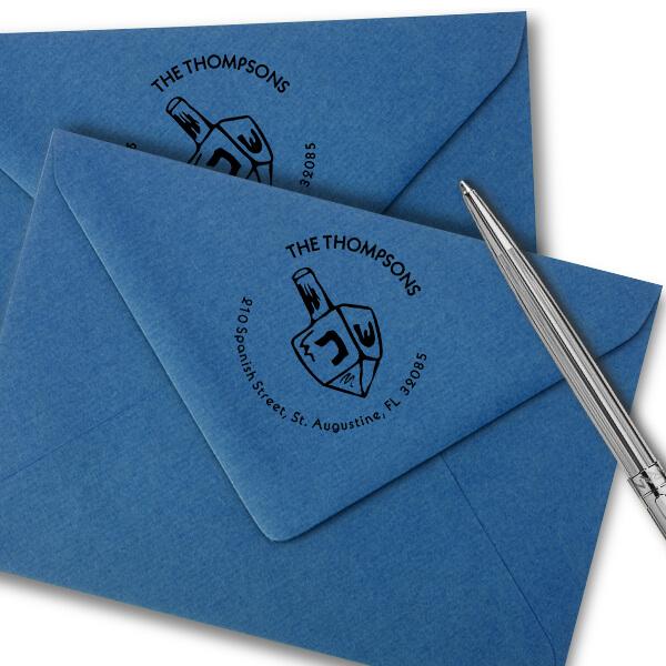 Dreidel Hanukkah Custom Address Stamp Imprint Example