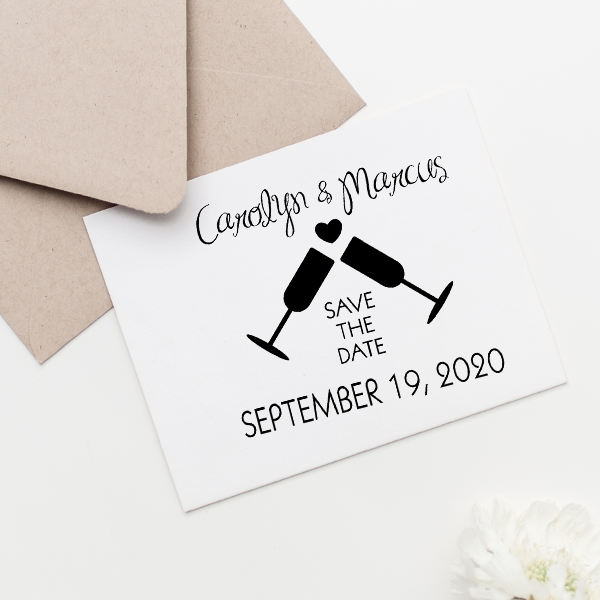Wine Glass Heart Save the Date Stamp Imprint Example