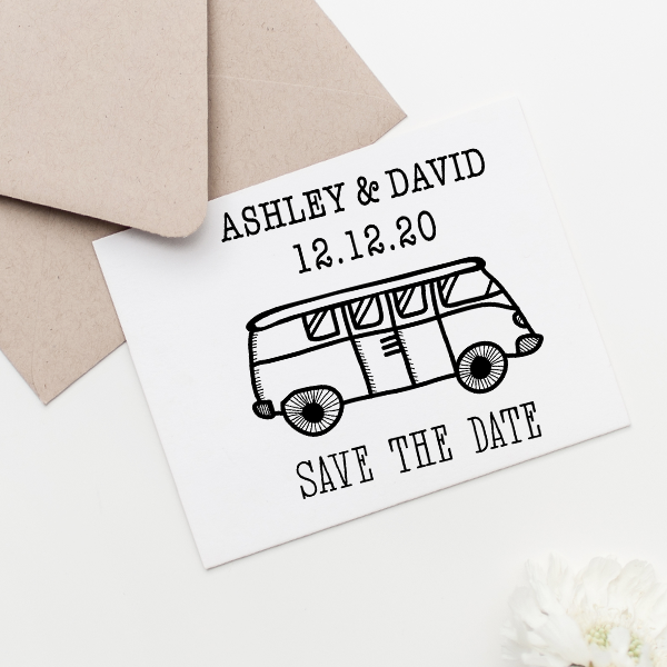 VW Bus Save the Date Stamp Imprint Example