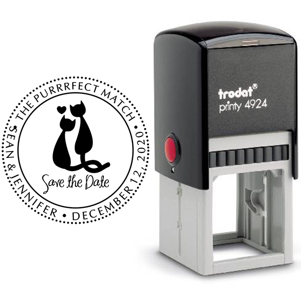 The Purrrfect Match Save the Date Stamp Body and Design