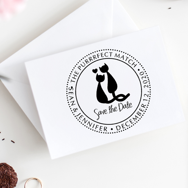 The Purrrfect Match Save the Date Stamp Imprint Example