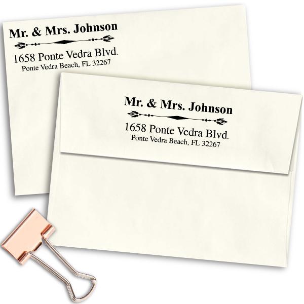 Mr. And Mrs. Accent Return Address Stamp Imprint Example on Envelopes