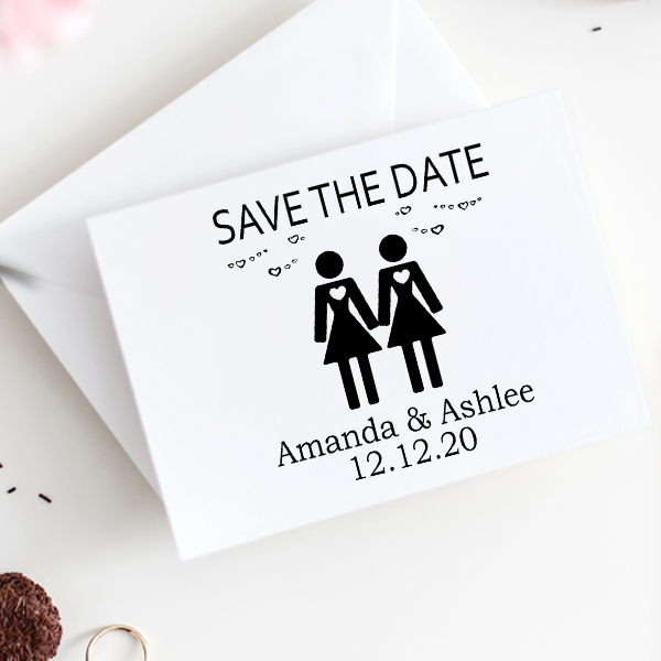 Lesbian Icon Save the Date Stamp Imprint Example