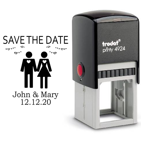 Couple Icon Save the Date Stamp Body and Design