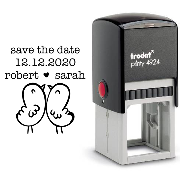 Chick Love Birds Save the Date Stamp Body and Design
