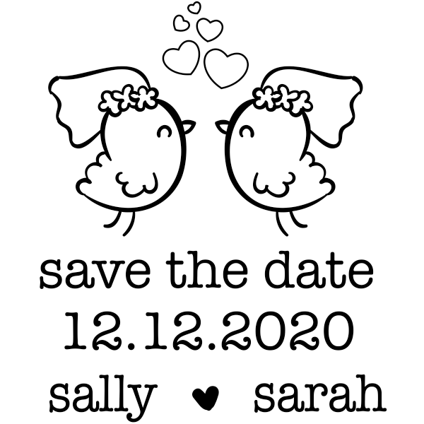 Lesbian Chicks Save the Date Stamp
