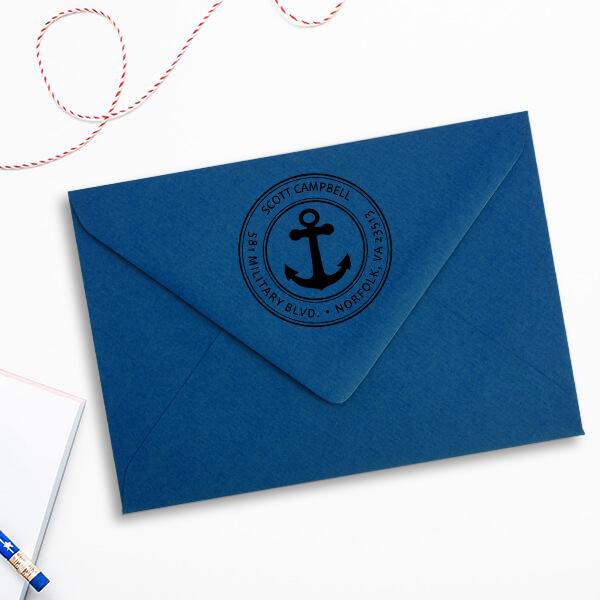 Return Address Navy Anchor Stamp Imprint Example