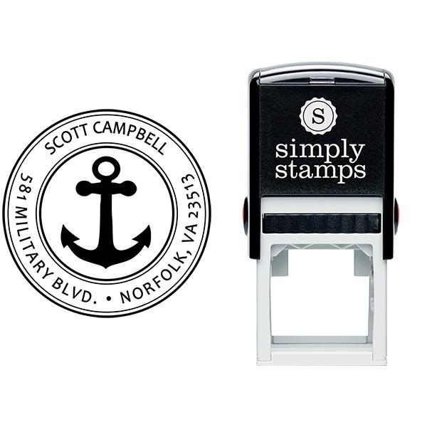 Return Address Navy Anchor Stamp Body and Design
