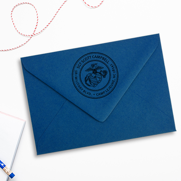 Return Address United States Marine Corps Stamp Imprint Example