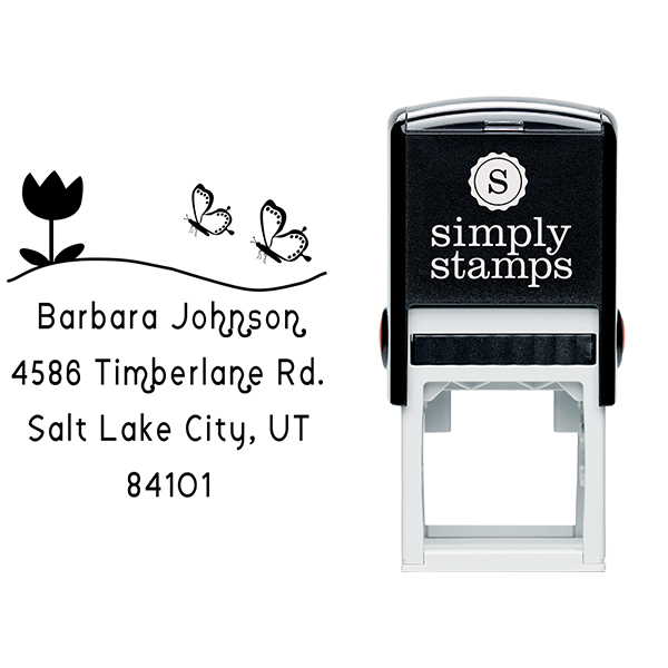 Butterfly Flower Return Address Stamp Body and Design