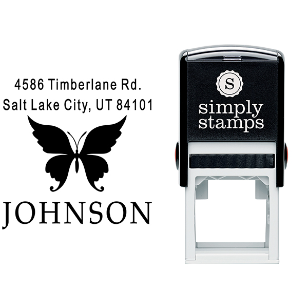 Short Swallowtail Butterfly Return Address Stamp Body and Design