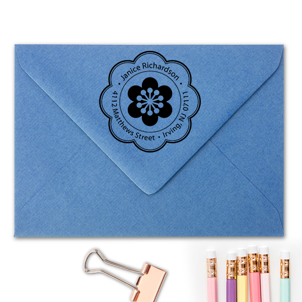 Designer Flower Address Stamp Imprint Example