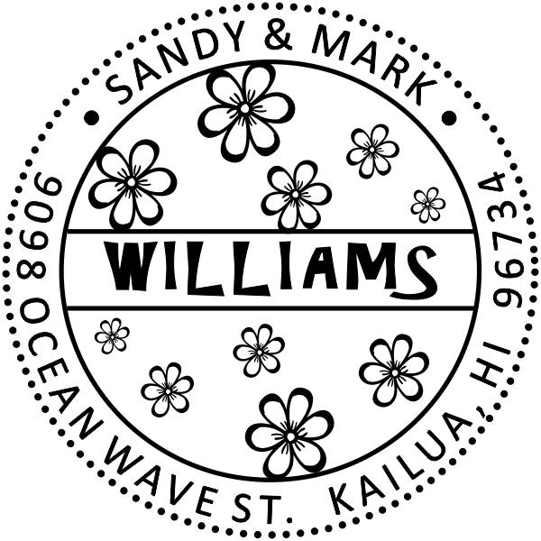 Hibiscus Flower Address Stamp
