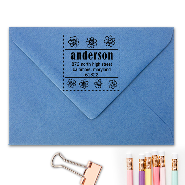 Anderson Flowers Address Stamp Imprint Example