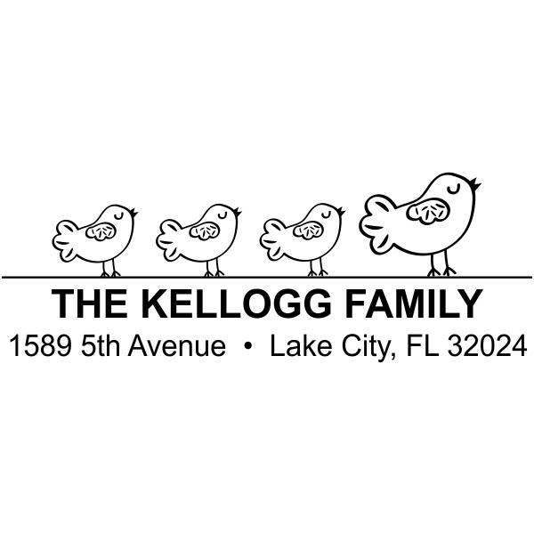 Family of Birds Address Stamp Four Birds