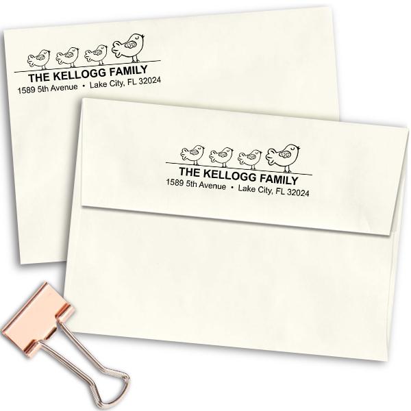 Bird Family Address Stamp Imprint Example