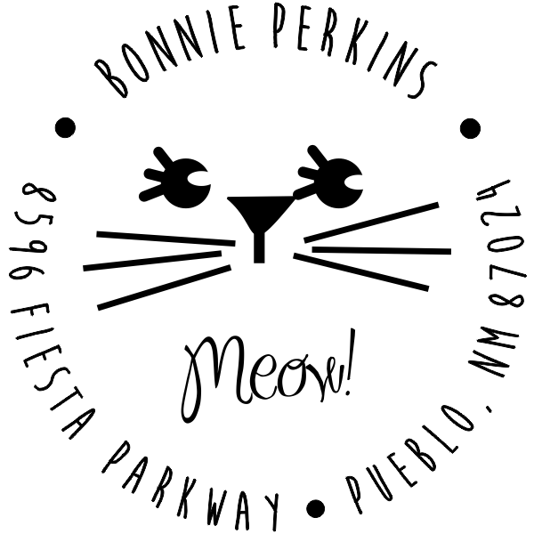Meow Girl Cat Address Stamp