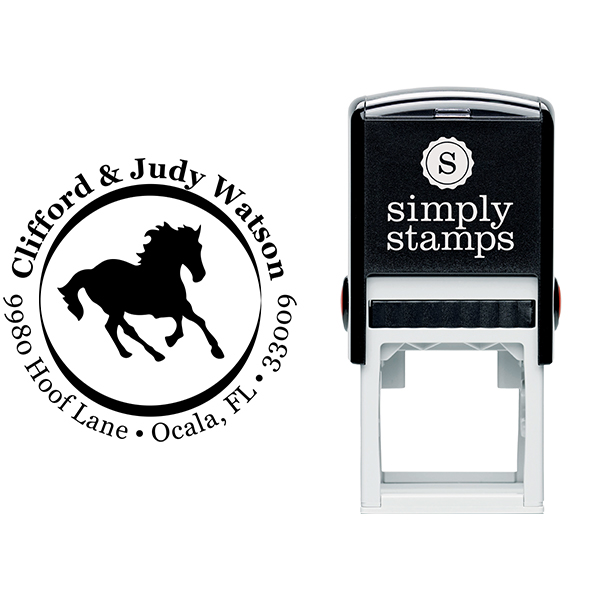 Mustang Inner Border Round Address Stamp Body and Design