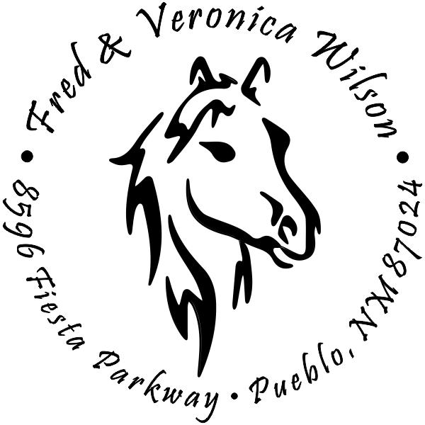 Beauty Horse Head Round Address Stamp